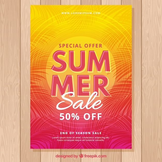 Summer sale flyer with sunset colors