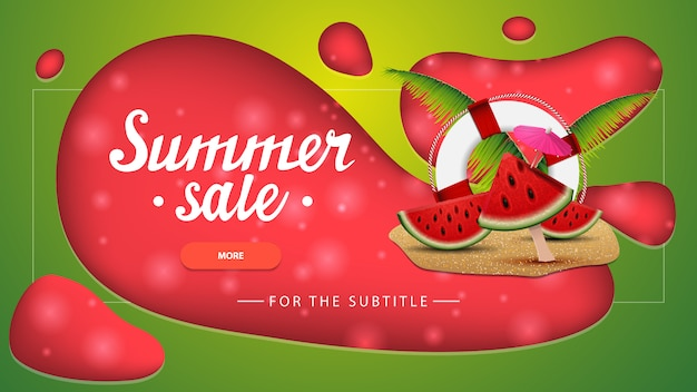 Summer sale, green discount banner with modern design for your website Premium Vector