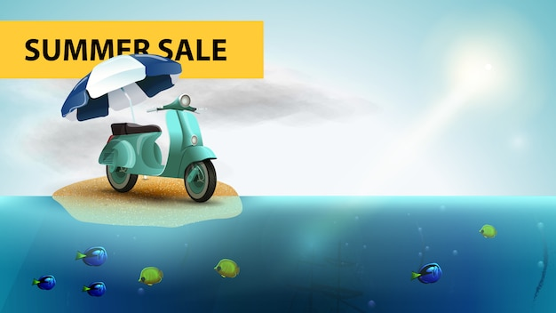 Summer sale, horizontal sea web banner with scooter with a beach umbrella Premium Vector
