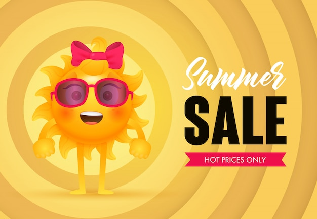 Summer sale, hot prices only lettering with sun character Free Vector