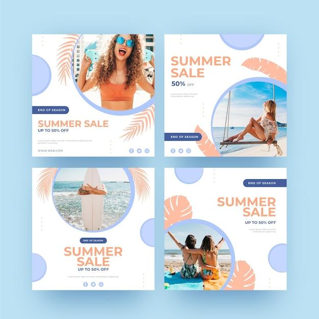 Летняя распродажа инстаграм пост девушек на пляже Бесплатные векторы