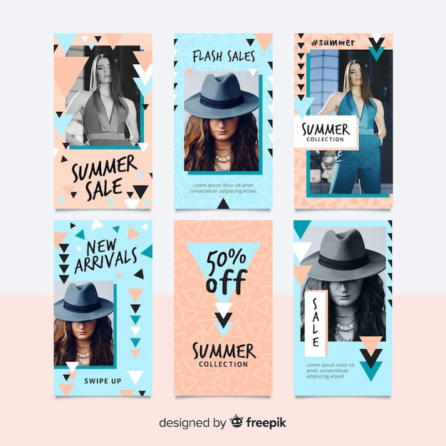 Summer sale instagram stories template collection Free Vector
