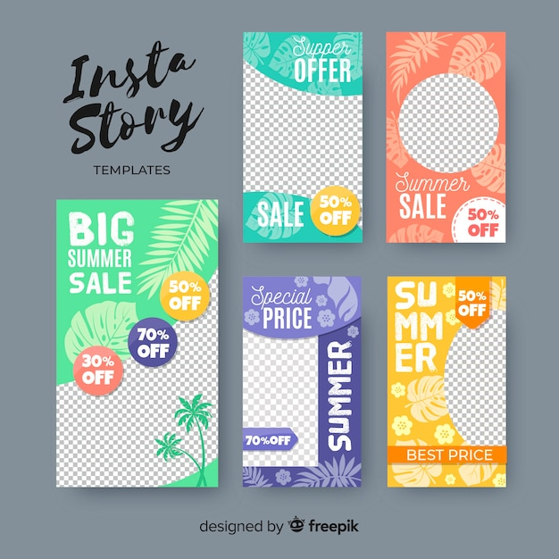 Summer sale instagram stories template Free Vector