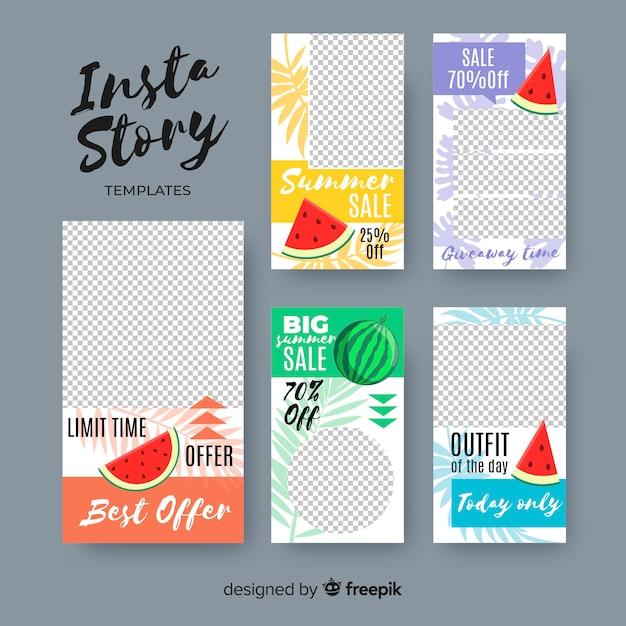 Summer sale instagram stories template Free Vector