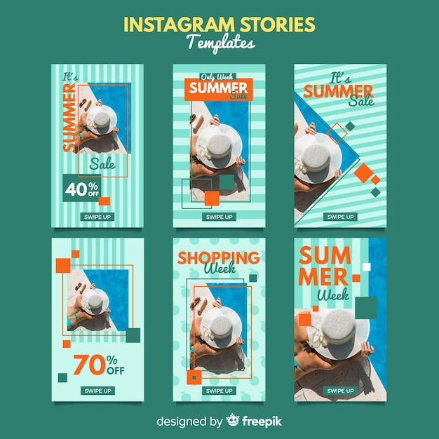 Summer sale instagram stories templates Free Vector