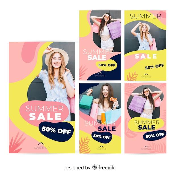 Summer sale instagram stories templates Free Vector
