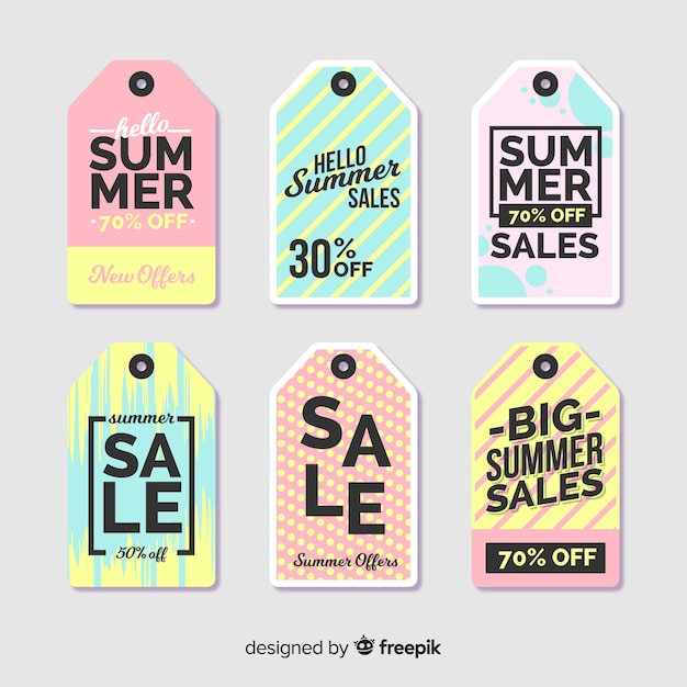 Summer sale label collection Free Vector