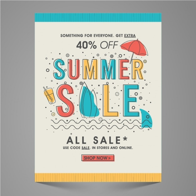 Summer sale leaflet with color details Premium Vector