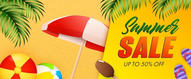 Summer sale lettering, beach balls, umbrella and ice-cream Free Vector