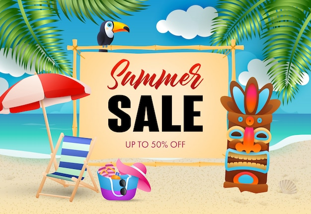 Summer sale lettering, chaise longue and tribal mask on beach Free Vector