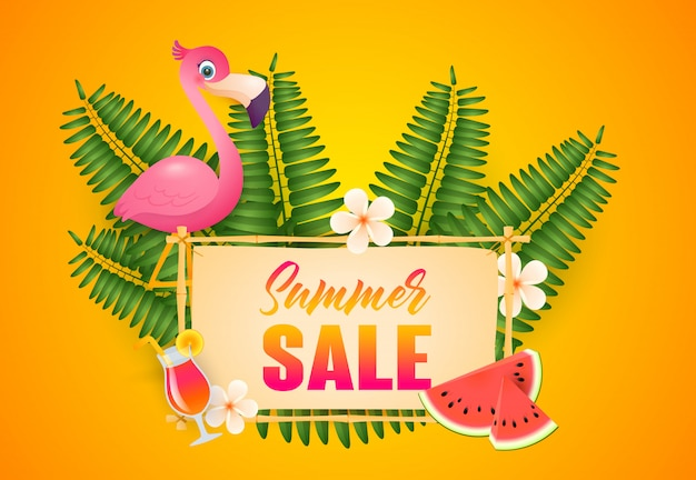 Summer sale lettering, flamingo, cocktail and watermelon Free Vector