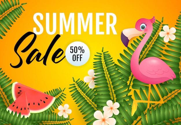 Summer sale lettering, flamingo, watermelon and plants Free Vector