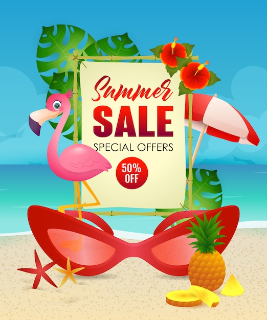 Summer sale lettering, flamingo and woman sunglasses Free Vector