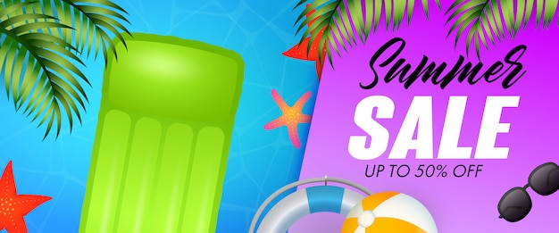 Summer sale lettering, floating raft, starfishes and lifebuoy Free Vector