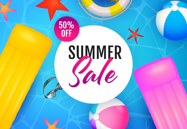 Summer sale lettering, floating rafts and beach balls Free Vector