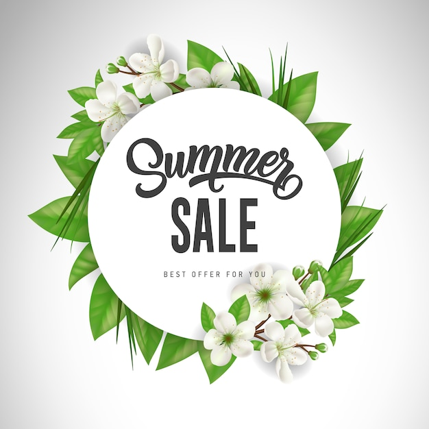 Summer sale lettering in circle with white\ flowers and leaves. Offer or sale advertising