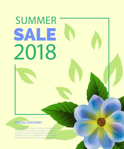 Summer sale lettering in frame with blue\ flower. Summer offer or sale advertising
