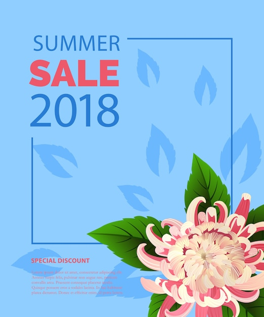Summer sale lettering in frame with pink\ flower. Summer offer or sale advertising