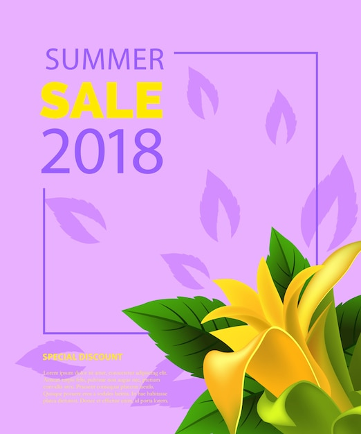 Summer sale lettering in frame with yellow\ flower. Summer offer or sale advertising