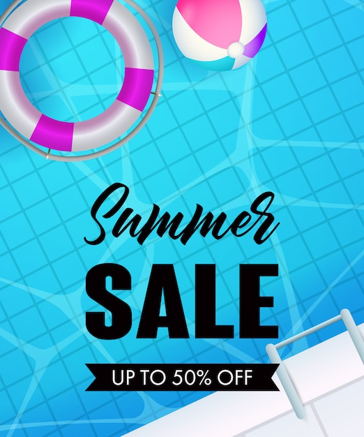 Summer sale lettering, swimming pool water, lifebuoy and ball Free Vector