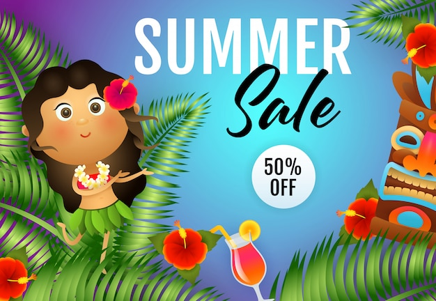 Summer sale lettering with aborigine woman and tiki mask Free Vector