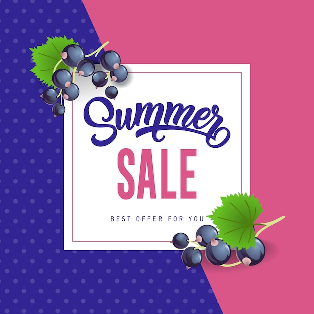 Summer sale lettering with black currants.\ Summer offer or sale advertising