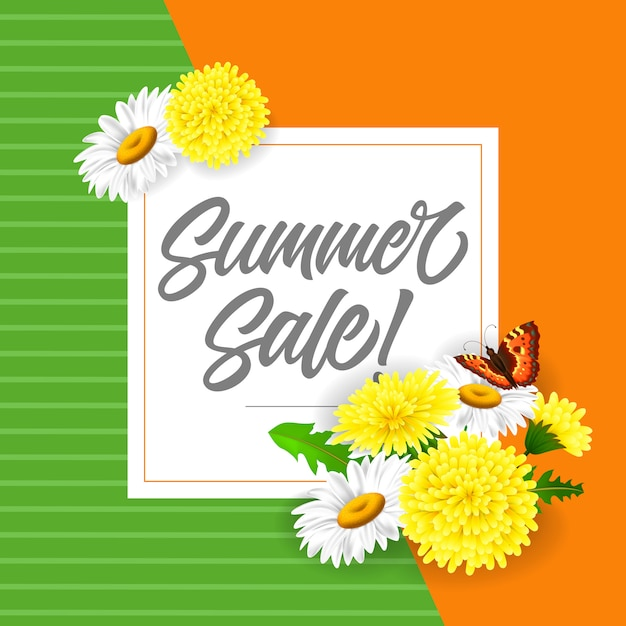 Summer sale lettering with dandelions and butterfly. summer offer or sale advertising Free Vector