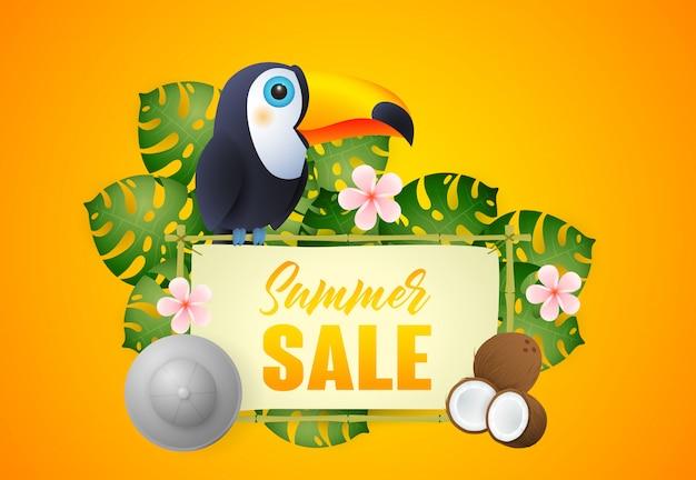 エキゾチックな鳥と植物のサマーセールレタリング 無料ベクター