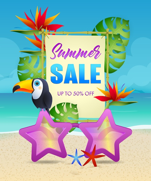 Summer sale lettering with exotic bird and flowers Free Vector