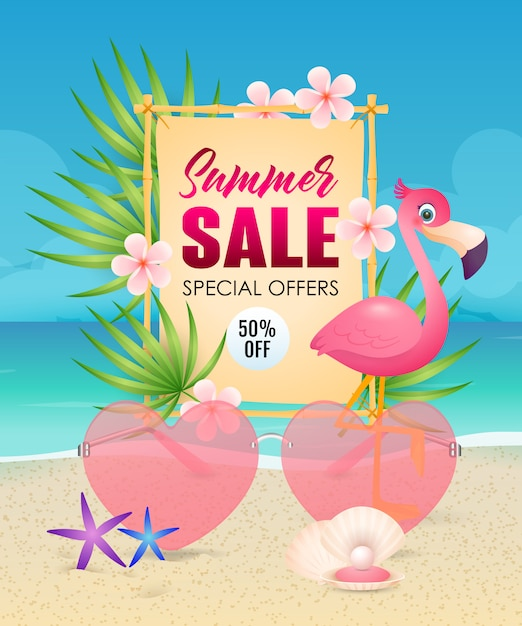 Summer sale lettering with heart shaped sunglasses and flamingo Free Vector