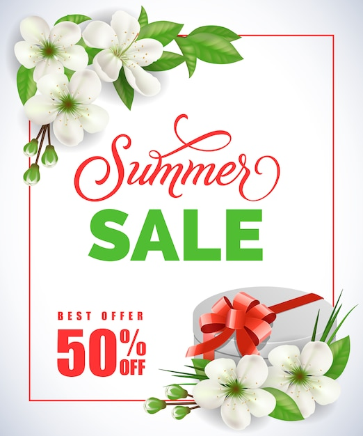 Summer sale lettering with in frame with apple\ flowers and gift box on white background