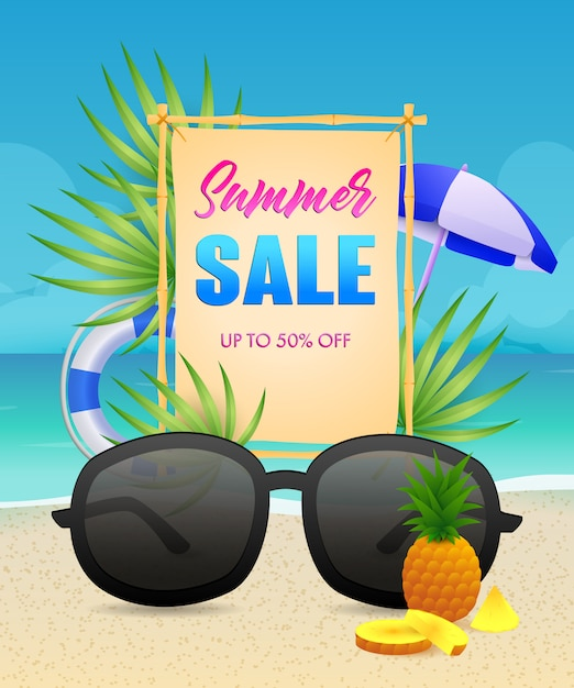 Summer sale lettering with lifebuoy and sunglasses Free Vector