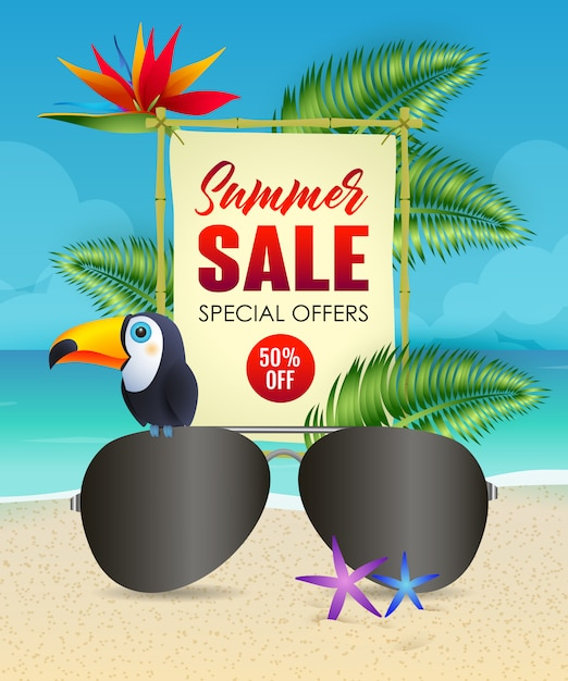 Summer sale lettering with sunglasses and toucan Free Vector