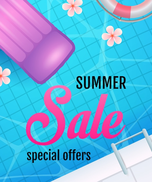 Summer sale lettering with swimming pool water and air mattress Free Vector