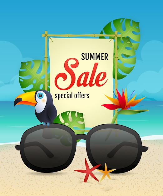 Summer sale lettering with toucan and sunglasses Free Vector