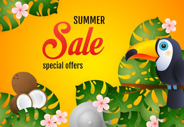 Summer sale lettering with tropical plants, toucan and coconut Free Vector