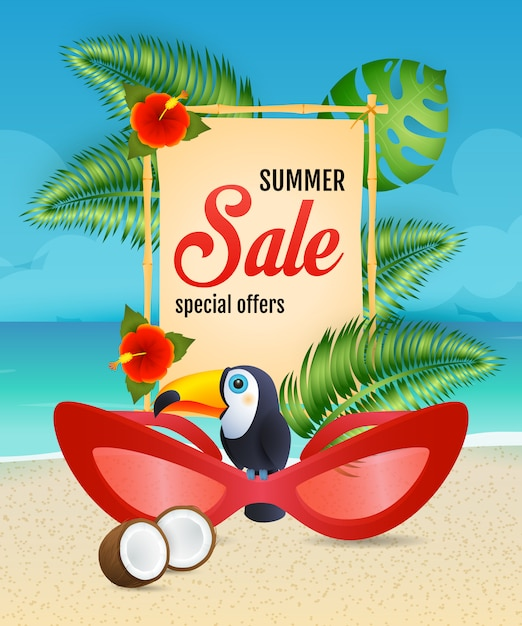 Summer sale lettering with woman sunglasses and toucan Free Vector