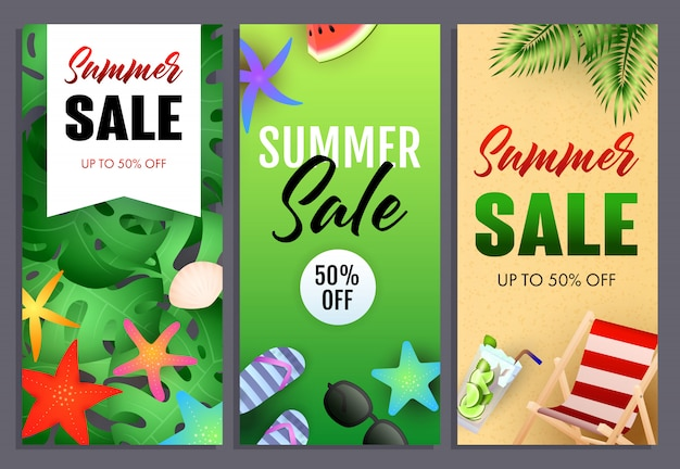 Summer sale letterings set, chaise longue and starfishes Free Vector
