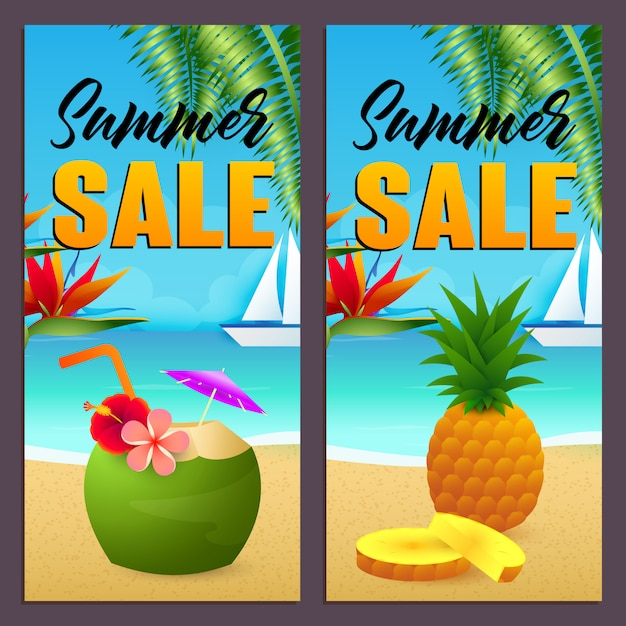 Summer sale letterings set, coconut drink and pineapple on beach Free Vector