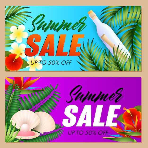 Summer sale letterings set, sea shell and bottle with scroll Free Vector