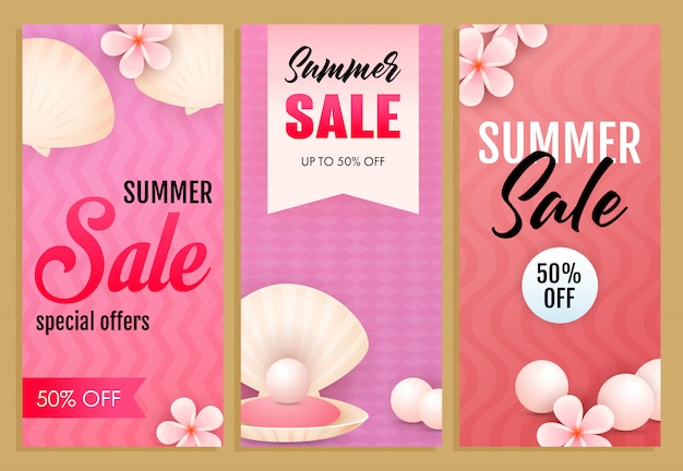 Summer sale letterings set, sea shells, pearls and flowers Free Vector