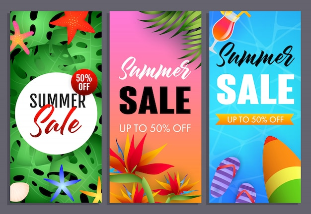 Summer sale letterings set, tropical plants and surfboard Free Vector