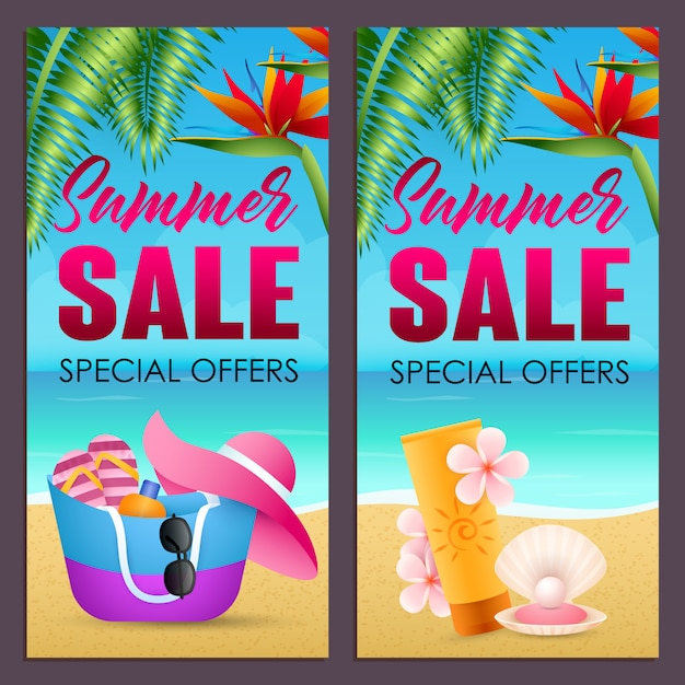 Summer sale letterings set with bag, hat and sunscreen on beach Free Vector
