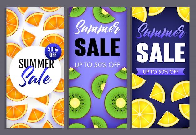 Summer sale letterings set with kiwi, orange and lemon slices Free Vector