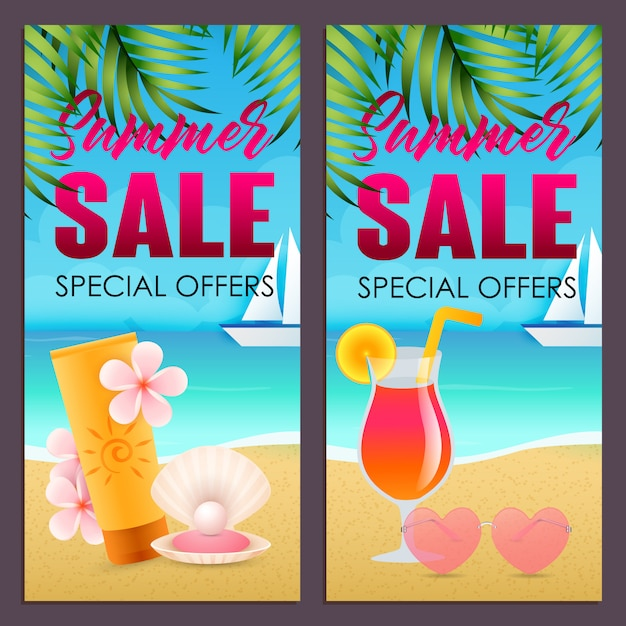 Summer sale letterings set with sunscreen and cocktail on beach Free Vector
