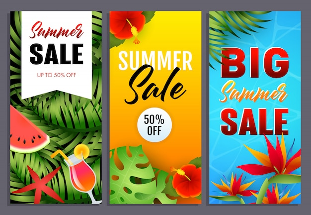 Summer sale letterings set with tropical leaves and flowers Free Vector