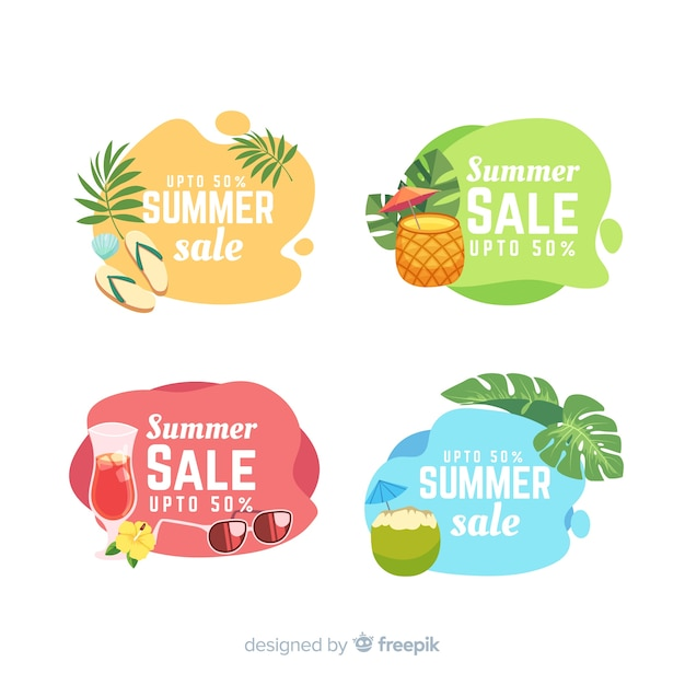 Summer sale liquid banners template Free Vector
