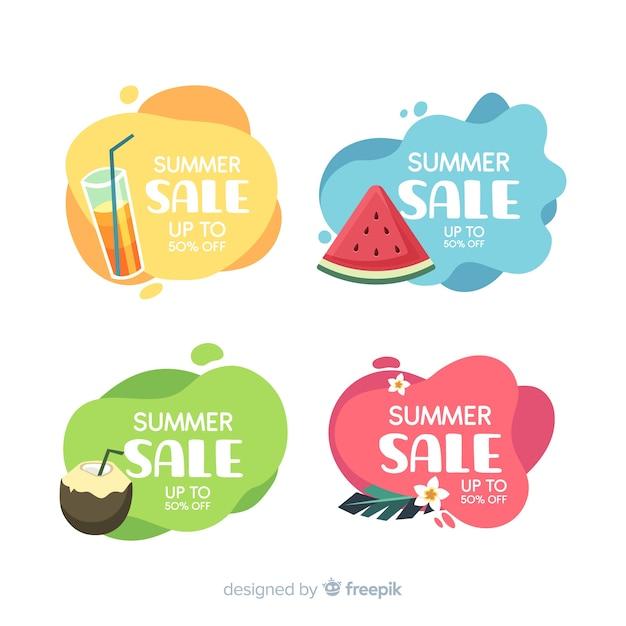 Летняя распродажа жидких баннеров шаблон Premium векторы