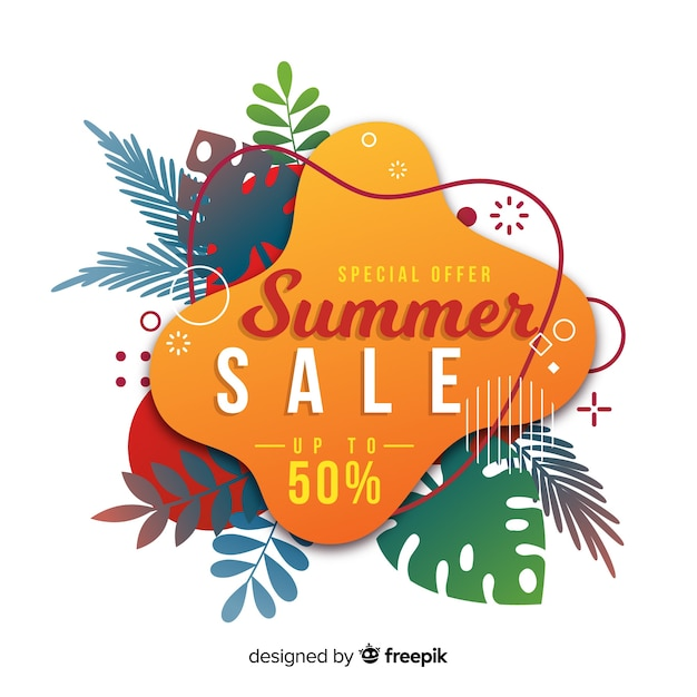 Summer sale liquid banners Free Vector