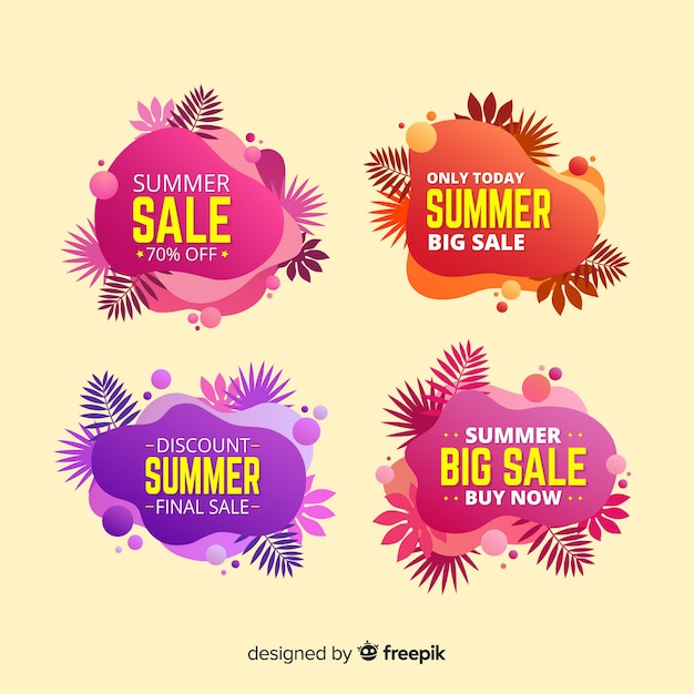 Summer sale liquid colorful banner collection Free Vector